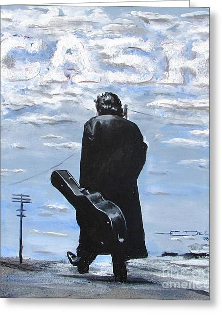 Black Drawings Greeting Cards - Johnny Cash - Going to Jackson Greeting Card by Eric Dee