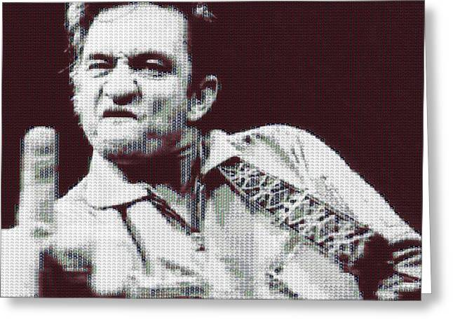 Budlight Greeting Cards - Johnny Cash Beer Cap Mosiac Greeting Card by Dan Sproul