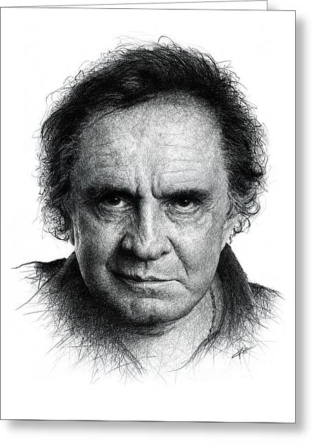 Johnny Cash Greeting Card by Christian Klute
