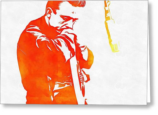 Black Man Mixed Media Greeting Cards - Johnny Cash Greeting Card by Dan Sproul
