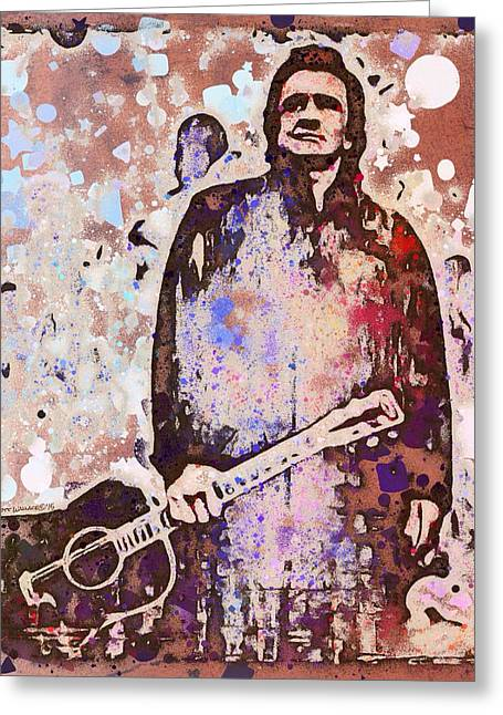 Rockabilly Digital Art Greeting Cards - Johnny Cash Graffiti Portrait  Greeting Card by Scott Wallace