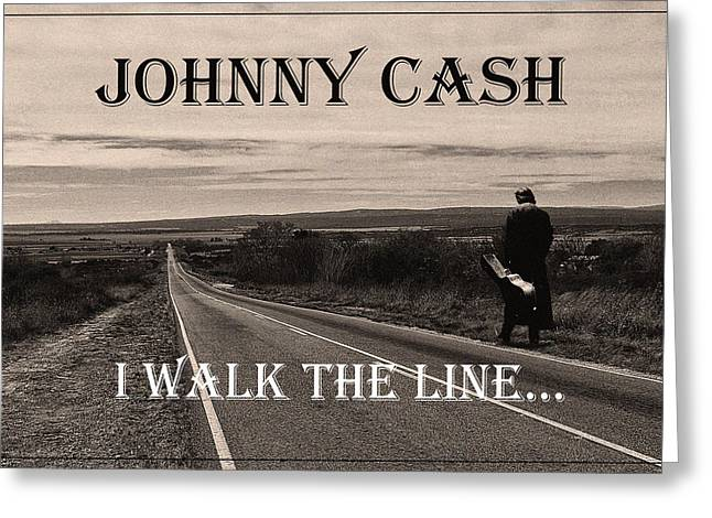 Johnny Cash Greeting Card by Hans Wolfgang Muller Leg