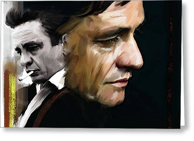 Johnny Cash  Hurt Greeting Card by Iconic Images Art Gallery David Pucciarelli