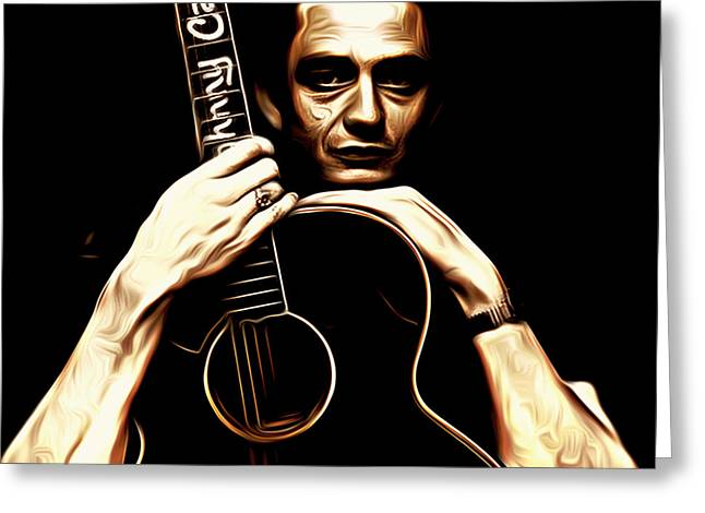 Rockabilly Digital Art Greeting Cards - Johnny Cash Greeting Card by Larry Espinoza
