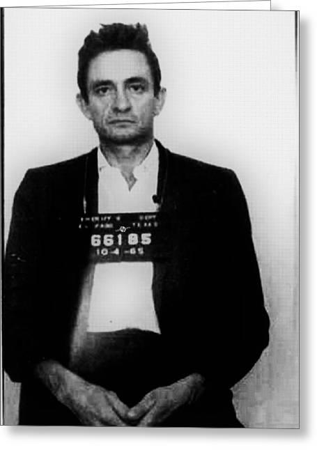 Johnny Cash Mug Shot Vertical Greeting Card by Tony Rubino