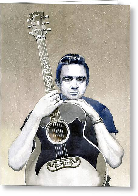 Johnny Cash Greeting Card by Yuriy  Shevchuk