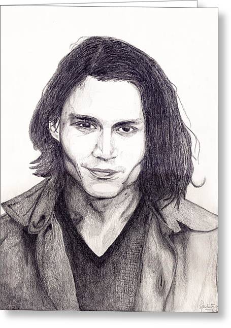 Johnny Depp Greeting Card by Debbie McIntyre