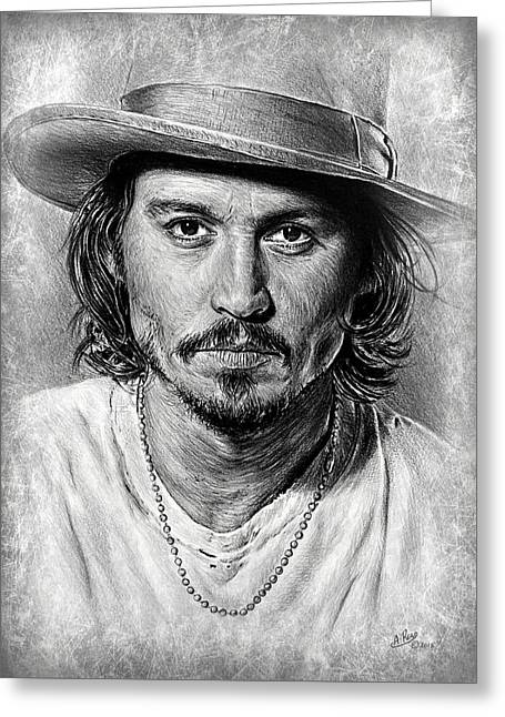 Johnny Depp Grey Scratch Greeting Card by Andrew Read