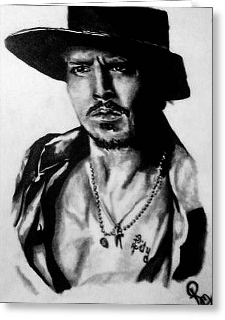 Johnny Depp Greeting Card by Pauline Murphy