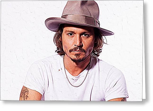 Christian Bale Greeting Cards - Johnny Depp Greeting Card by Queso Espinosa