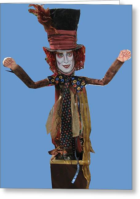 Mad Hatter Mixed Media Greeting Cards - Johnny In The Box Greeting Card by Cathi Doherty