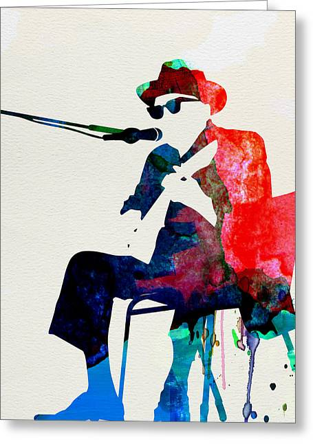 Disco Greeting Cards - Johnny Lee Hooker Watercolor Greeting Card by Naxart Studio