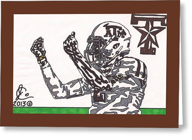College Drawings Greeting Cards - Johnny Manziel 10 Change The Play Greeting Card by Jeremiah Colley