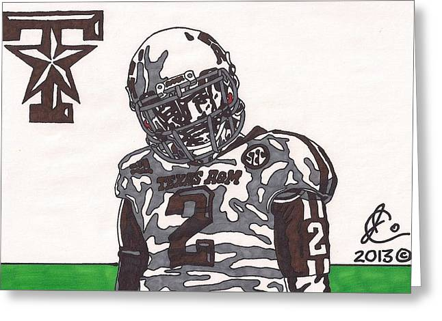 Johnny Manziel Drawings Greeting Cards - Johnny Manziel 11  Greeting Card by Jeremiah Colley