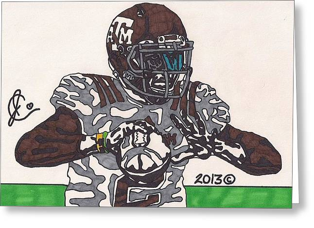Johnny Manziel Drawings Greeting Cards - Johnny Manziel 12 Greeting Card by Jeremiah Colley