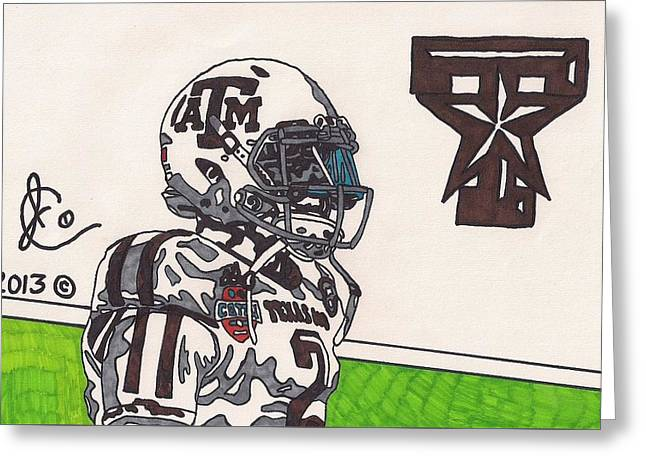 Johnny Manziel Drawings Greeting Cards - Johnny Manziel 13 Greeting Card by Jeremiah Colley