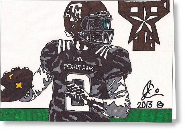 Johnny Manziel Drawings Greeting Cards - Johnny Manziel 14 Greeting Card by Jeremiah Colley