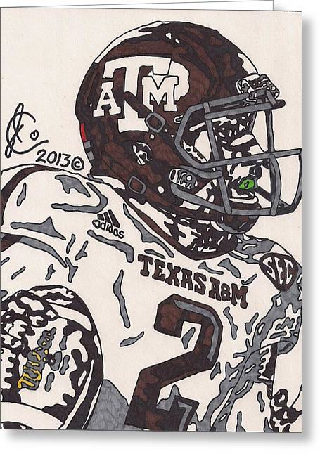 Johnny Manziel Drawings Greeting Cards - Johnny Manziel 5 Greeting Card by Jeremiah Colley