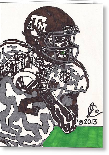 Johnny Manziel Drawings Greeting Cards - Johnny Manziel 8 Greeting Card by Jeremiah Colley