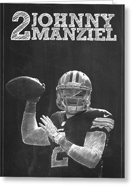 Recently Sold -  - Lions Greeting Cards - Johnny Manziel Greeting Card by Semih Yurdabak