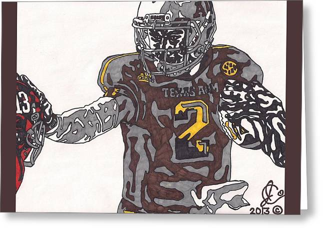 Texas A Drawings Greeting Cards - Johnny Manziel Stiff Arm Greeting Card by Jeremiah Colley