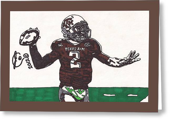 Texas A Drawings Greeting Cards - Johnny Menziel 1 Greeting Card by Jeremiah Colley