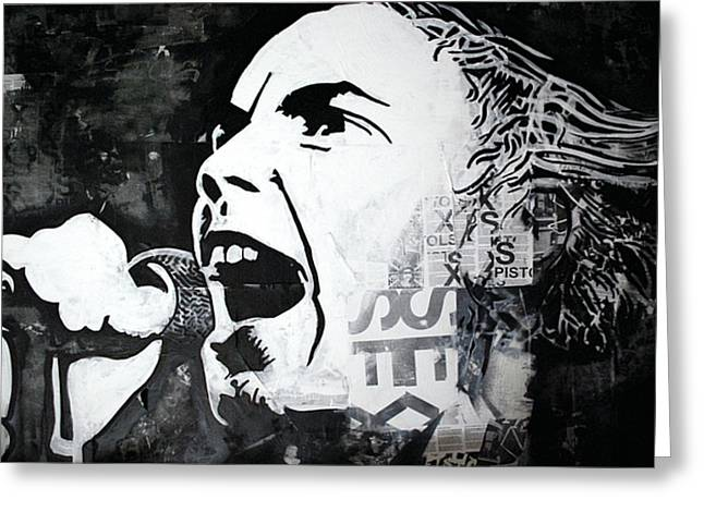 Johnny rotten Greeting Card by Patrick Indo