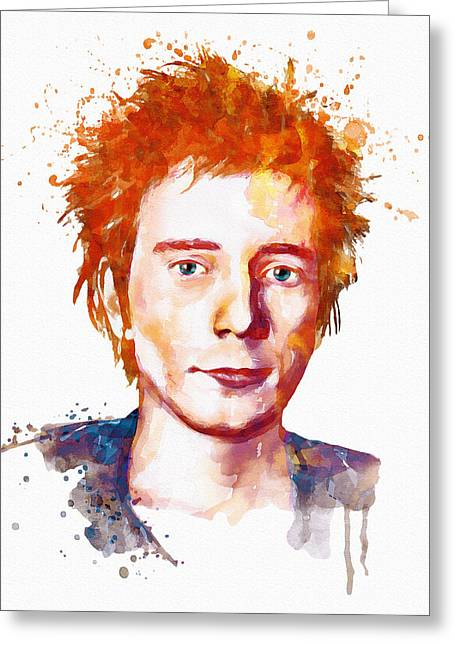 British Celebrities Mixed Media Greeting Cards - Johnny Rotten Watercolor Greeting Card by Marian Voicu