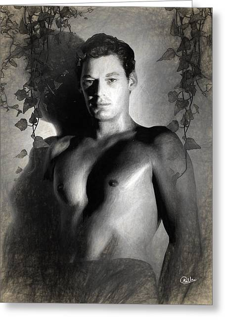 Johnny Weissmuller Draw Greeting Card by Quim Abella