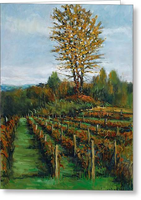 Winemaking Paintings Greeting Cards - Johns Vineyard in Autumn Greeting Card by Robert James Hacunda