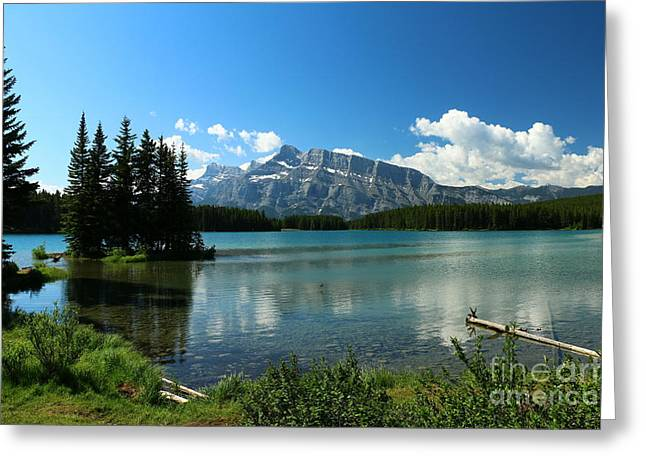 Two Jake Lake View - Banff National Park Greeting Card by Christiane Schulze Art And Photography