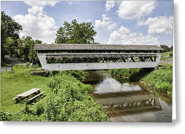 Beautiful Creek Greeting Cards - Johnston Covered Bridge Greeting Card by Phyllis Taylor