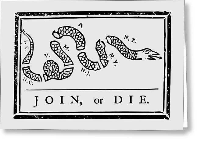 4th July Greeting Cards - Join or Die Greeting Card by War Is Hell Store