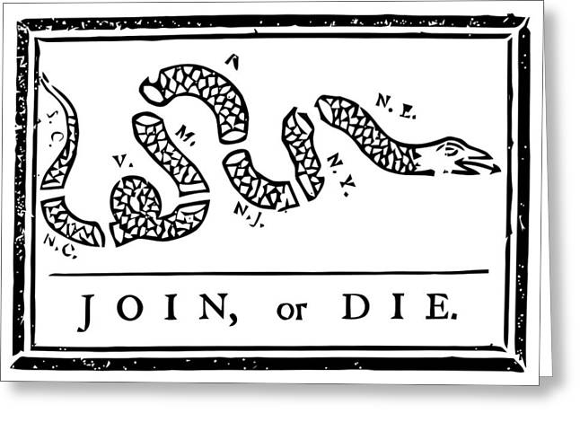 Continental Army Greeting Cards - Join or Die Greeting Card by War Is Hell Store