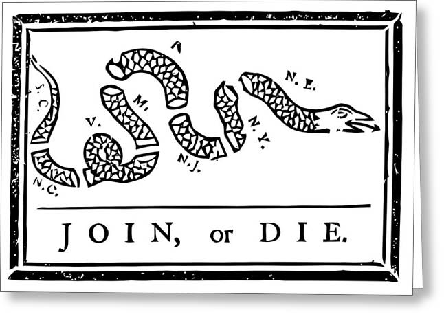Join Greeting Cards - Join or Die Greeting Card by War Is Hell Store