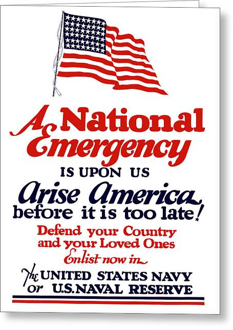 Arise America Before It Is Too Late - Join The Navy Greeting Card by War Is Hell Store