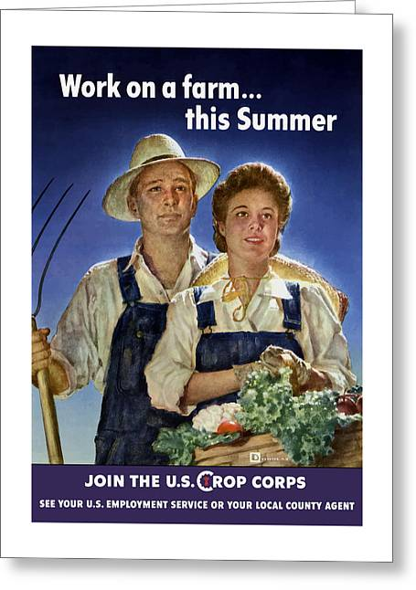 Cropped Mixed Media Greeting Cards - Join The U.S. Crop Corps Greeting Card by War Is Hell Store