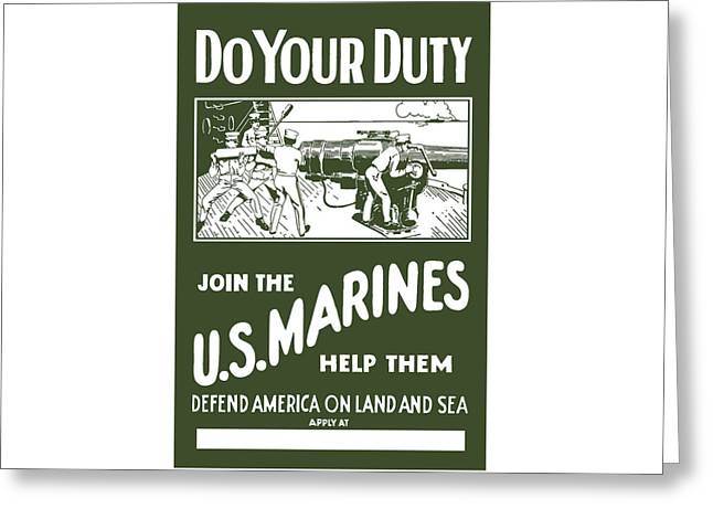 Join The US Marines Greeting Card by War Is Hell Store