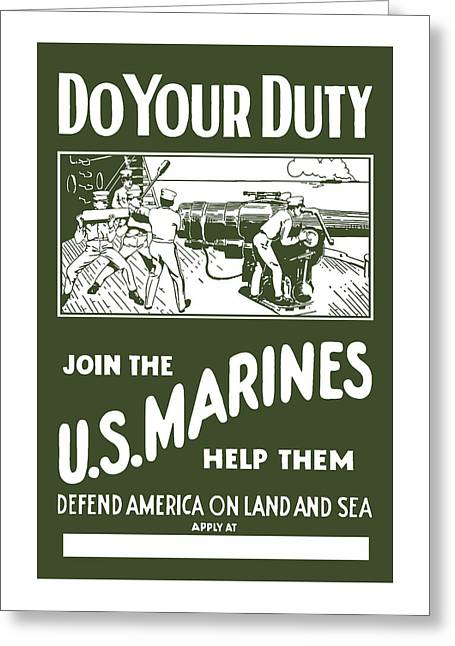 Recruiting Greeting Cards - Join The US Marines Greeting Card by War Is Hell Store