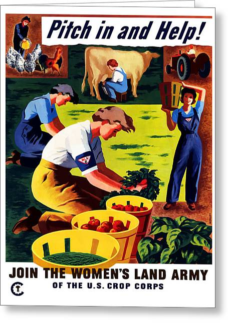 Cropped Mixed Media Greeting Cards - Join The Womens Land Army Greeting Card by War Is Hell Store