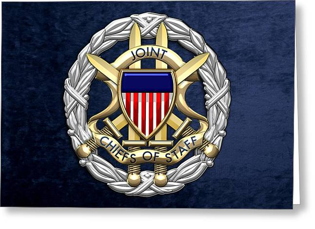 Joint Chiefs Of Staff - J C S Identification Badge On Blue Velvet Greeting Card by Serge Averbukh
