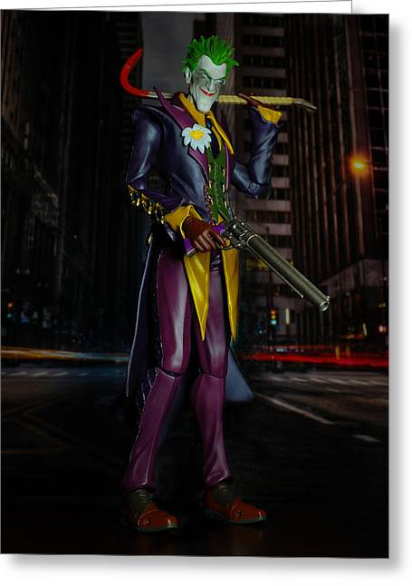 Harley Quinn Photographs Greeting Cards - Joker in Gotham Greeting Card by William English