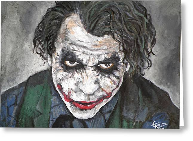 Why So Serious Greeting Cards - Joker Greeting Card by Tom Carlton