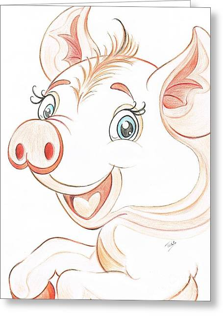 Grunts Greeting Cards - Jolly Miss Piggy Greeting Card by Teresa White
