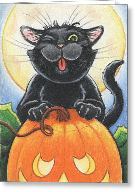 Ollie Greeting Cards - Jolly Ollie Halloween Greeting Card by Amy S Turner