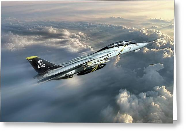 Jolly Rogers F-14 Tomcat Greeting Card by Peter Chilelli