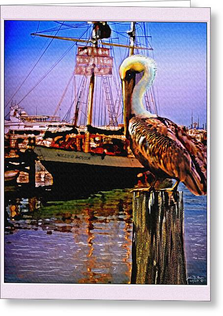 Boats At Dock Greeting Cards - Jolly Rover with pelican Greeting Card by John Breen