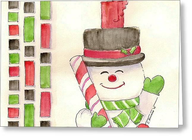 Best Sellers -  - Sketchbook Greeting Cards - Jolly Snowman Greeting Card by Julie Ferrario