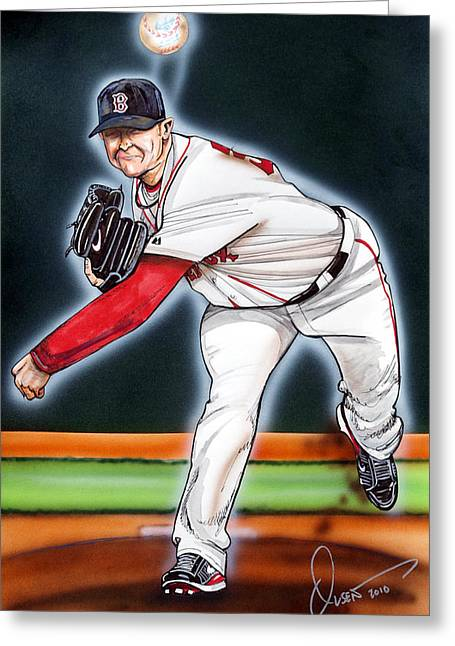 Mlb Drawings Greeting Cards - Jon Lester Greeting Card by Dave Olsen