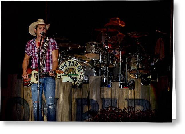 Live Music Greeting Cards - Jon Pardi Guitar 2 Greeting Card by Mike Burgquist